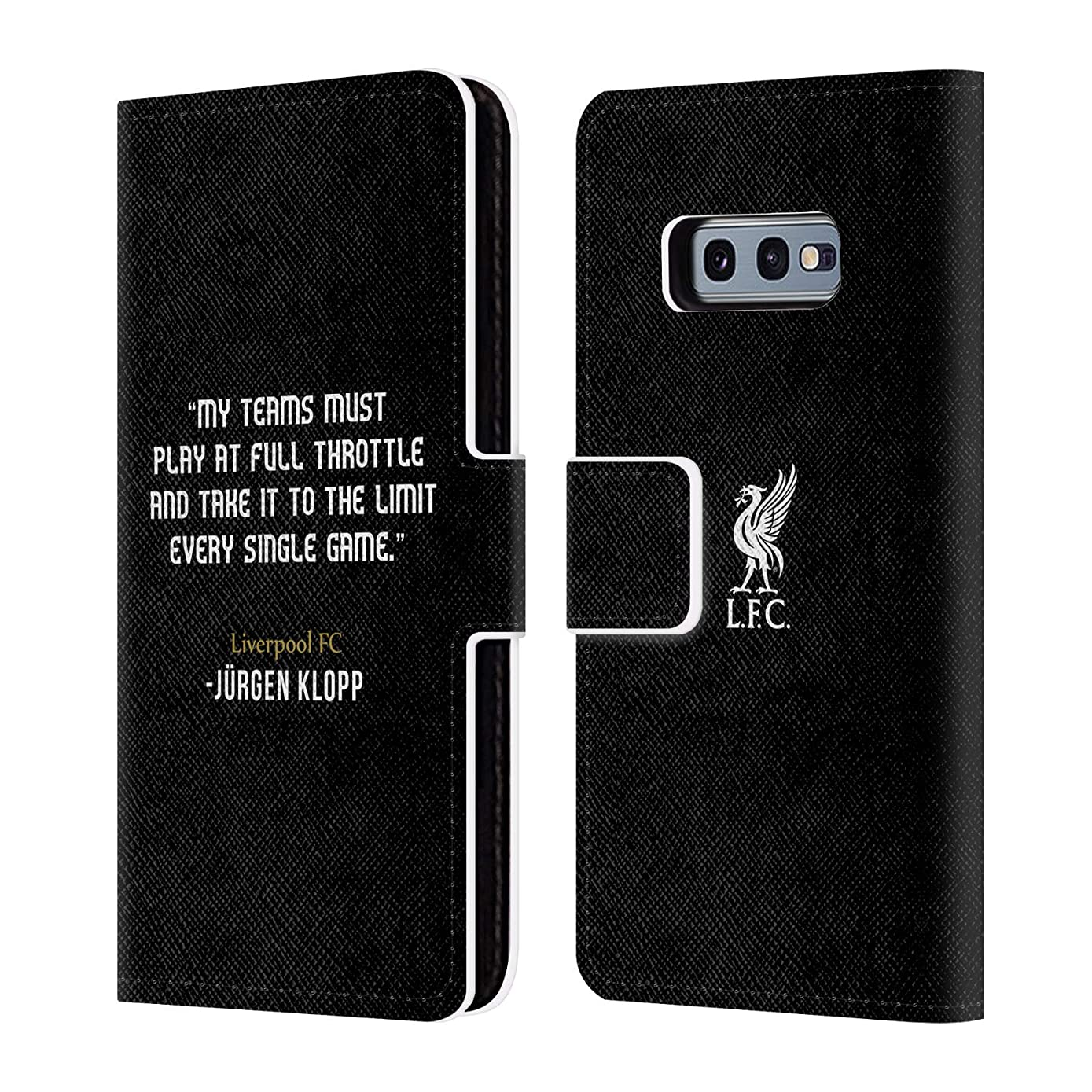 Official Liverpool Football Club Full Throttle Klopp Quotes PU Leather Book Wallet Case Cover Compatible for Samsung Galaxy S10e