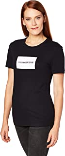 Calvin Klein Jeans Women's Institutional Box Slim Fit T Shirt, Ck Black/Bright White