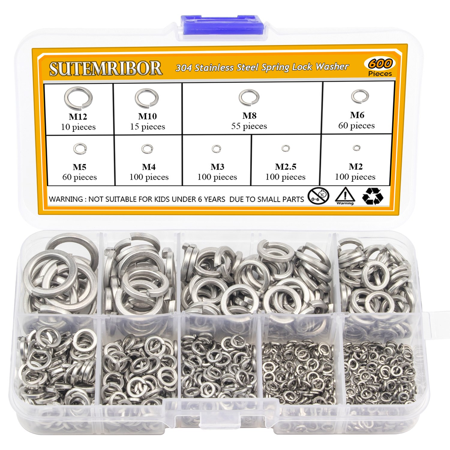 Sutemribor 304 Stainless Steel High order Spring Assortment Washer Set Lock Excellence
