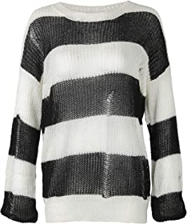 Womens Black and White Striped Oversized Lightweight Distressed Knit Sweater