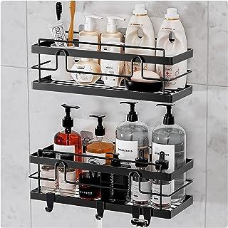 BESONT浴室ラック 二セット シャンプーラック 調味料ラック 強力粘着固定 オフィス/お風呂場/キッチン/洗面所ラック (ブラック)