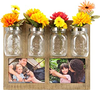 Excello Global Products Rustic Photo Frame with 4 Mason Jar Flower Pots: Wall Hanging Displays Two 5x7 Photos in Farmhouse Decoration Wooden Frame