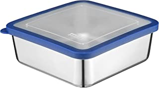 MIRA Stainless Steel Lunch Box Food Storage Container | BPA Free, Eco-Friendly, Reusable Sandwich Box & Snack Container | For Kids & Adults | 6 x 6 in | Transparent Lid (Blue)