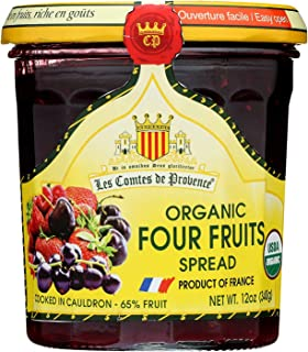 Four Red Fruits Spread USDA Organic Preserve – 12 oz/ 340 gr – Made in France Traditional Jam Non GMO Gluten Free