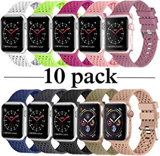 Lwsengme Compatible with Apple Watch Band (S/M M/L),Choose Color,Soft Rubber Replacement Sport Wristbands Compatible with Apple Watch Series 4/3/2/1(38mm/40mm-10 Pack-Small)