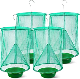 4Pcs Ranch Fly Trap, Effective Ranch Cage Fly Catcher for Outdoor Hanging Family Farms Flytrap Fly Traps- Green