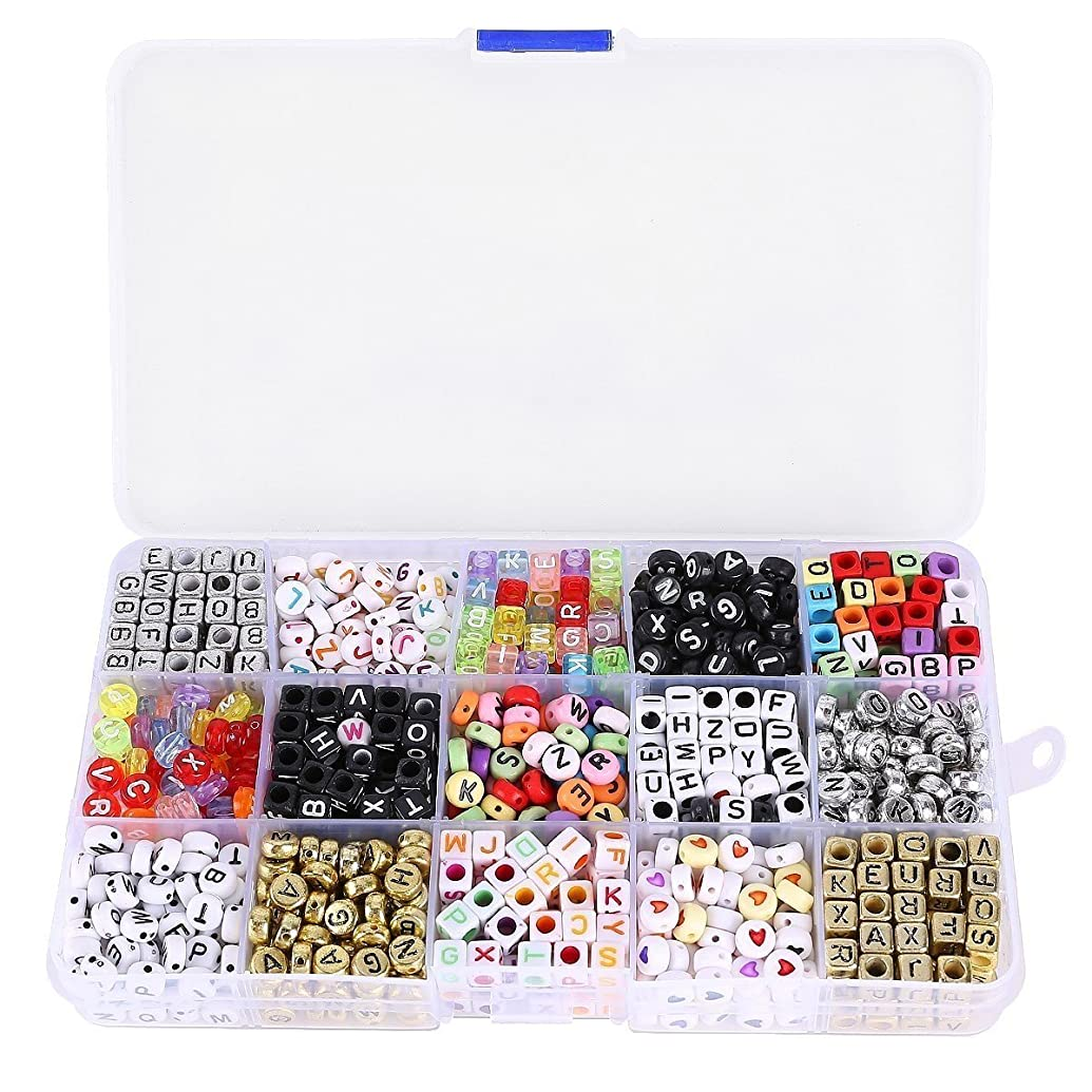 Museya A Box of 1100pcs Mixed Acrylic Alphabet Letters Beads Cube Charms for DIY Loom Bands Bracelets