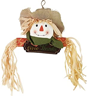 WEWILL Fall Harvest Scarecrow Decor Halloween Thanksgiving Hanging Wall Door Decoration, Give Thanks Sign(Boy)