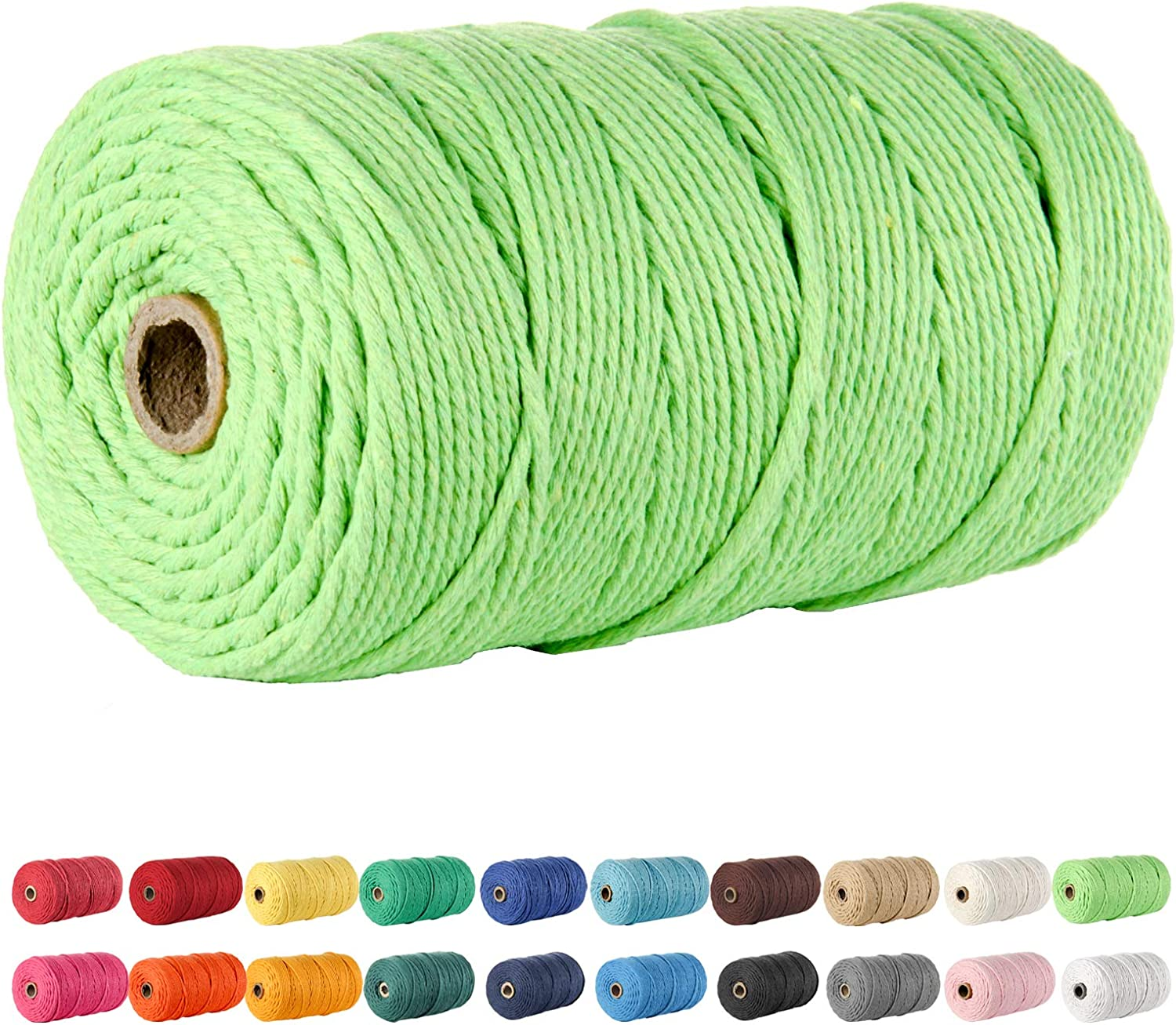 POZEAN 3mm x 220 Yards DIY Crafts Knitting Christmas Wedding Decorative Projects Macrame Cord Cotton Rope,100/% Natural Cotton Macrame Rope for Wall Hanging About 200m Plant Hangers Apple Green