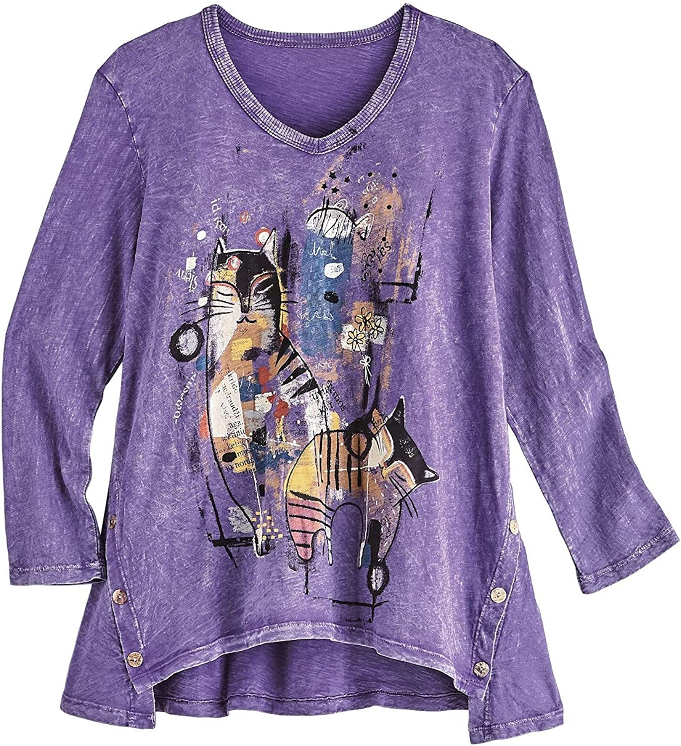 Jess & Jane Women's Cat Tunic - Abstract Purple Mineral Washed Top, 3/4 Sleeve