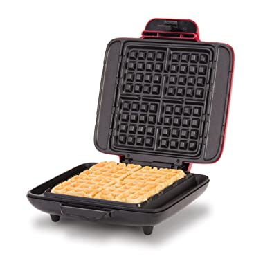 DASH DNMWM400RD Belgian Waffle Maker for Chaffles, Paninis, Hash browns, or any Breakfast, Lunch & Snacks with Easy Clean, Non-Stick + Mess Free Sides, 1200 Watt, Red