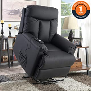 Lift Chair for Elderly, Lift Recliner Sofa Power Lift Recliner Chair Upholstered PU with Remote Control for Living Room