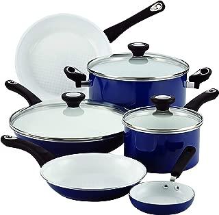 Farberware PURECOOK Ceramic Nonstick Cookware 12-Piece Cookware Set, Blue (Renewed)