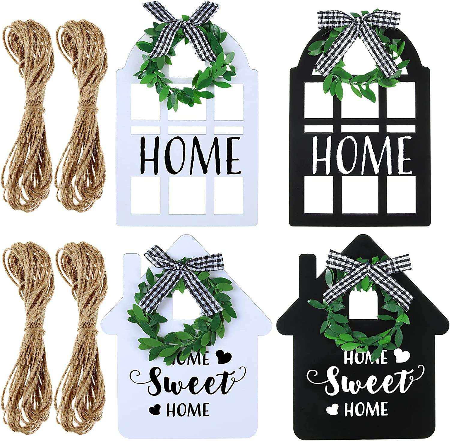 4 Pieces Wooden mart Farmhouse Window Decorations a Black Tray Detroit Mall Tiered