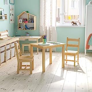 طقم طاولة وكراسي خشبية صلبة للأطفال من فلاش فيرنيتشر لغرفة اللعب وغرفة النوم والمطبخ - مجموعة من 3 قطع - طبيعي
