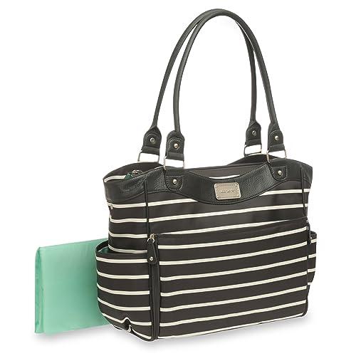 Carters Zip Fashion Diaper Bag, Front Stripe