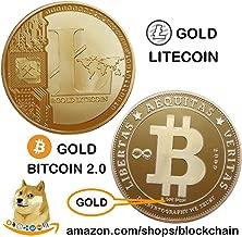 2019 GOLD BITCOIN 2.0 + GOLD LITECOIN - Blockchain Commemorative Cryptocurrency - Bitcoin Ethereum Ripple EOS Stellar Litecoin Cryptocurrencies Blockchain Bitcoin Ethereum Blockchain Litecoin EOS Bitc