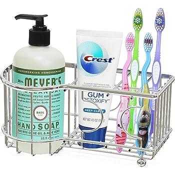 Simple Houseware Multi-Functional 6 Slots Toothbrush Holder, Chrome