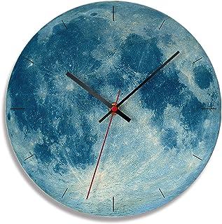 Wooden MDF Wall Clock, Simple Modern Clocks Silent Non-Ticking 11 inch Round Moon Surface Quartz Clocks for Home Decor, fo...