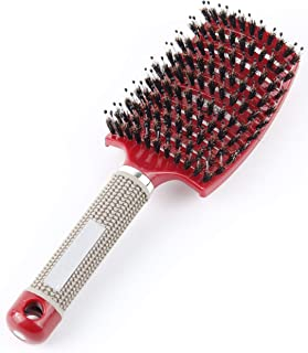 Natural Boar Bristle and Nylon Curved vented Hair Brush Vent Hair Brush Blow Dryer Brush, Hair Detangling Massage Brushes, Professional styling tool (Red)