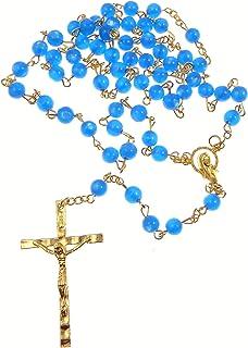 De Long Rouge Vif Iris/é Chapelet Perles Verre Centre Notre Dame Catholique en Bo/îte