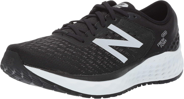 New Balance Men's 1080v9 Fresh Foam Running shoes, Black White, 8 D US