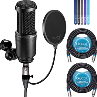 Audio-Technica AT2020 Cardioid Condenser Studio Microphone BUNDLED WITH Blucoil Pop Filter, 2 Pack of 20-Ft Balanced XLR Cables AND 5 Pack Cable Ties