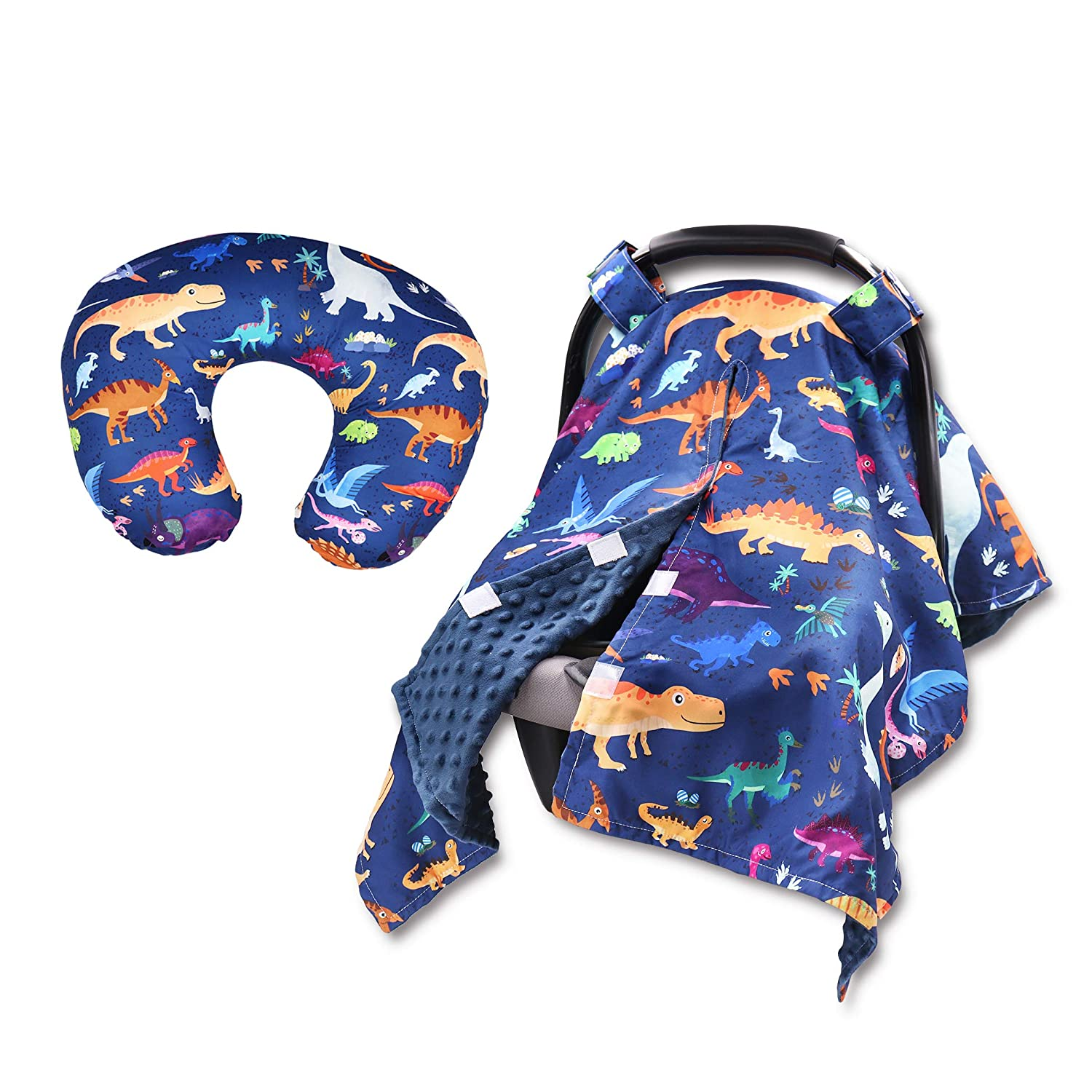 Dinosaur Financial sales sale Baby Car Seat Canopy and 2 Cover Nursing Pillow Pack Import Se