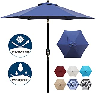 Blissun 7.5 ft Patio Umbrella, Yard Umbrella Push Button Tilt Crank (Navy Blue)