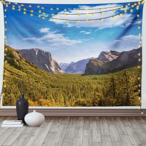 Yosemite 6x8 FT Photo Backdrops,Yosemite El Capitan and Half Dome in California National Parks US Summertime View Background for Baby Birthday Party Wedding Vinyl Studio Props Photography Green Blue