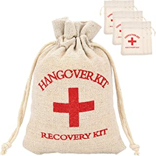 Maxdot 20 Packs Cotton Muslin Wedding Party Favor Bags Red Cross Bachelorette Hangover Kit Bags Recovery Kit Bags Survival Kit Bags Drawstring Bag, 6 x 3.9 Inches