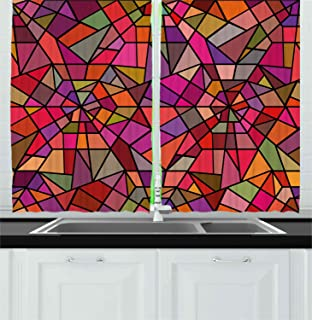 Ambesonne Abstract Kitchen Curtains, Mosaic Style Stained Glass Fractal Colorful Geometric Triangle Forms Image, Window Drapes 2 Panel Set for Kitchen Cafe Decor, 55