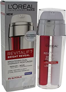 L'Oréal Paris Skincare Revitalift Bright Reveal Dual Overnight Face Moisturizer with Glycolic Acid, Anti-Wrinkle and Brightening Night Treatment, 1 fl. oz.