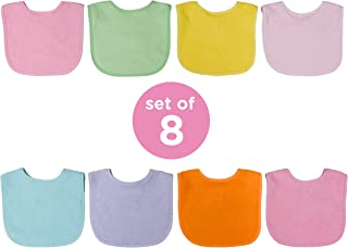 Neat Solutions 8 Pack Multi-Color Solid Knit Terry Feeder Bib, Girl, 8 Count