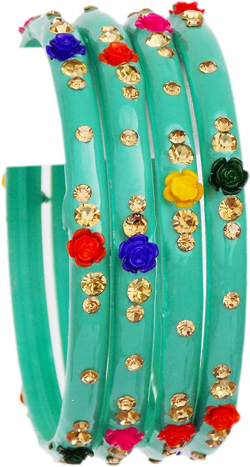 Indian Bangles Jewelry For Women Glass Bangles Flower Design Costume Matching Partywear Bangles Set 4pc Beautiful Bollywood Bangles