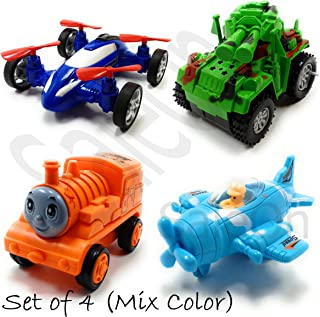 SaleOn™ Set of 4 Unbreakable Friction Powered Automobile Toy Set Drone Toy Tank Bulldozer Train Engine and Plane for Kids(Assorted-Color)-942