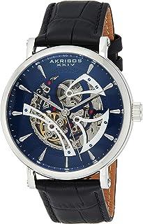Akribos XXIV - Akribos Reloj mecánico automático de esqueleto – Correa de piel auténtica en relieve de cocodrilo – Reloj de pulsera esquelético mecánico automático – esfera transparente – AK1020