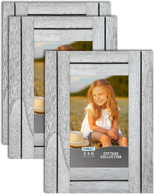Icona Bay 4x6 (10x15 cm) Picture Frames (Farmhouse White, 3 Pack