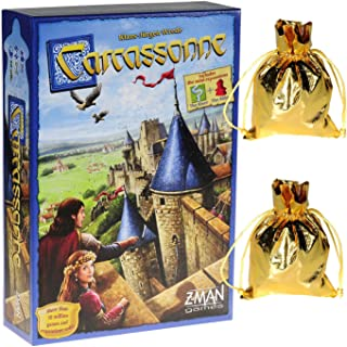 Carcassonne Game (New Edition)_ for 2 to 5 Players _ Includes River Expansion & The Abbot Expansion _ Bonus 2 Gold Drawstr...