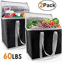 Insulated-Grocery-Bags-Shopping-Cooler-Thermal-Tote 2 Pack for Hot Cold Frozen Food Transport X-Large 60LBS Reusable and Durable with Zipper Top Long Handles Collapsible Black