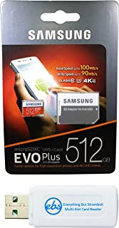 Samsung Evo Plus 512GB Micro SDXC Memory Card Class 10 Works with Samsung Galaxy Phones J2 Core, J3 (2018), J4 Core (MB-MC512G) Bundle with (1) Everything But Stromboli MicroSD/SD Card Reader