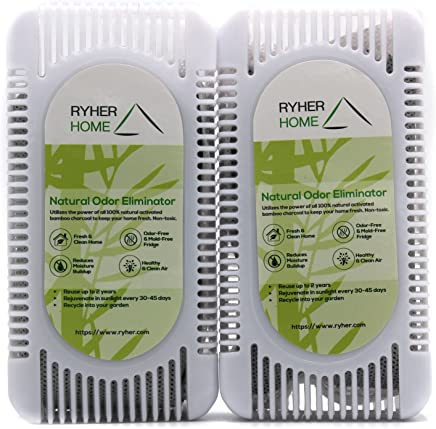 Ryher Natural Bamboo Activated Charcoal Refrigerator deodoriser - Air freshener and Odour Remover for Fridge, Closet, Kitchen - 100% European Quality Company – Reusable for 2 Years (Pack of 2)