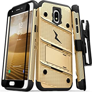 ZIZO Bolt Series Samsung Galaxy Amp Prime 3 Case Military Grade Drop Tested with Tempered Glass Screen Protector Holster Gold Black