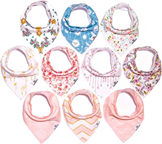 Little Munchkins 10 Pack Baby Bandana Drool Bibs for Girls - Organic Cotton - Absorbent - Soft- Teething Drool Bibs Set