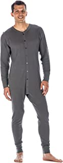 Noble Mount Mens Union Suit - Waffle Knit Thermal Mens Onesie Pajamas