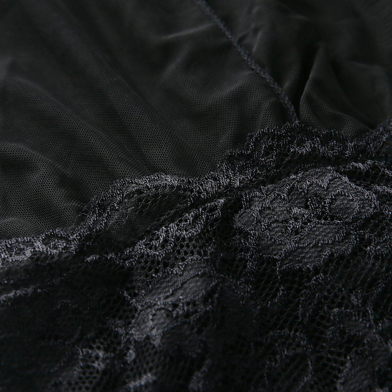 Yinggeli Womens Plus Size Lingerie V Neck Lace Sexy Babydoll Sleepwear S-3XL