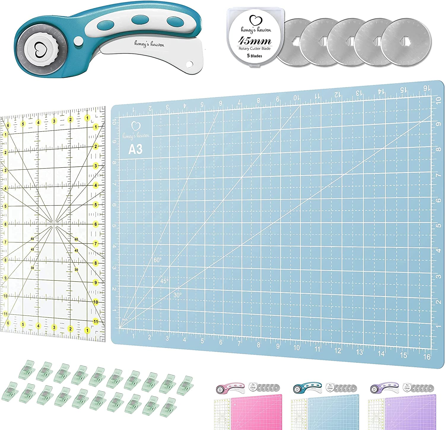 Rotary Cutter Set turquoise - Quilting 45mm Kit Fabric Cut incl. Phoenix Mall Now free shipping
