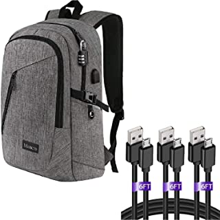 Laptop Backpack, Waterproof Travel Backpack with USB Charging Port, Grey | Micro USB Cable 6ft 3Pack Fast Charging Cord Wire Compatible for Android Device, Black