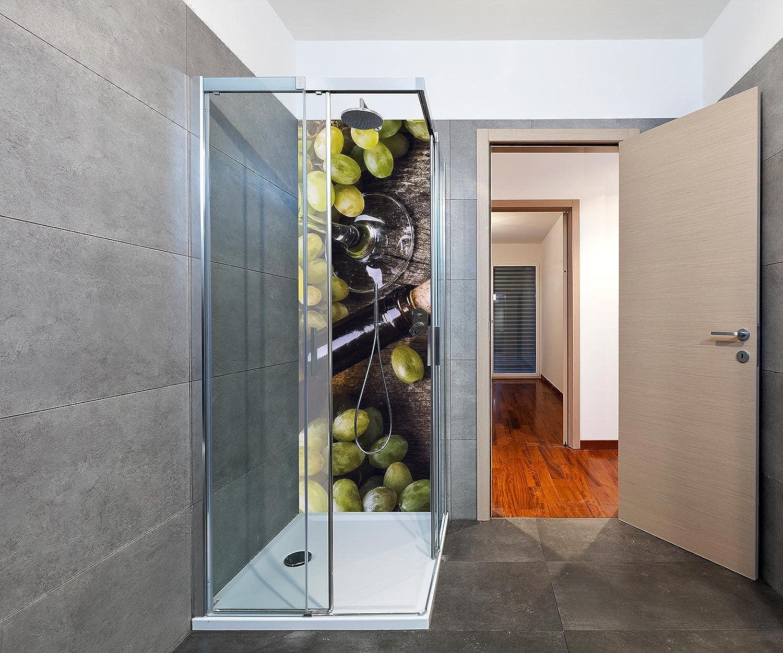 Wandmotiv24 Duschrückwand Flasche Weiwein und Trauben auf einem Alten Tisch Duschwand Design 70 x 200cm (B x H) - Aluminium 3mm, Fugen