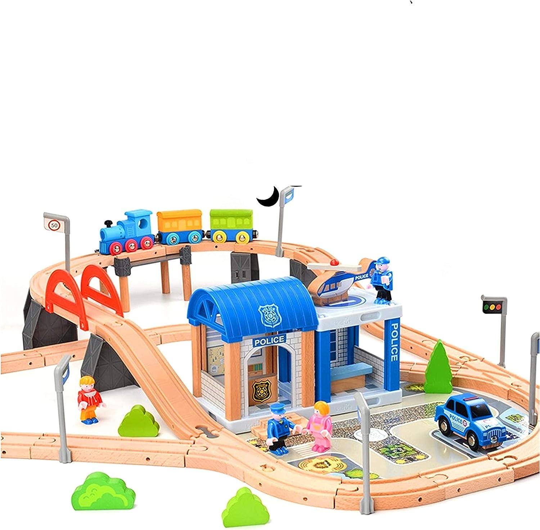 Juego de ferrocarril de madera para niños / tren con rieles de madera 90 piezas / policía / combinable / ferrocarril de madera para niños